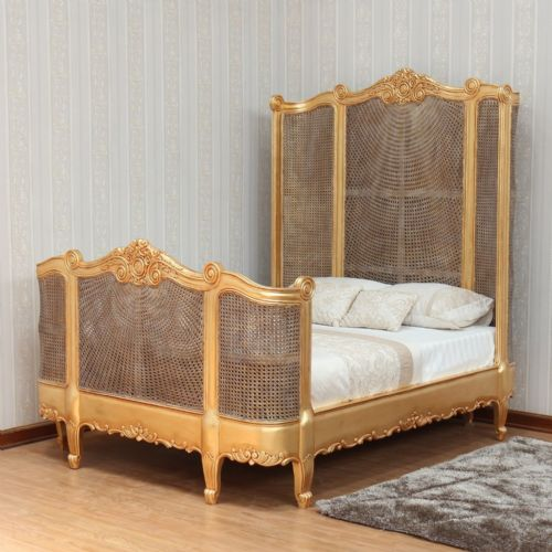 French Rattan Bed with High Headboard